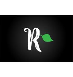 Letter grunge handwritten r geen leaf alphabet vector