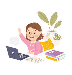 Little girl studying from home via teleconference vector