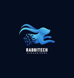 Logo rabbit tech gradient colorful style vector