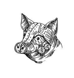 Mechanical pig hand drawn vector