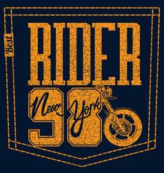 motorcycle rider t-shirt design vector image