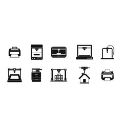 printer icon set simple style vector image