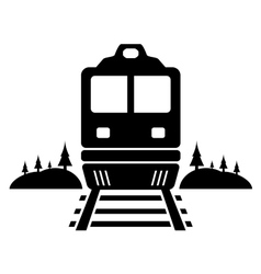 rail road icon with moving train vector image