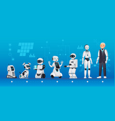 robot generations robotics engineering evolution vector image