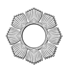 Round contour feather mandala from bird tails vector