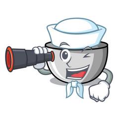 Sailor with binocular juicer mascot cartoon style vector