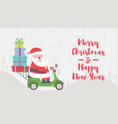 santa claus ride on scooter vector image