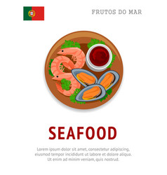 seafood shrimps and mussels vector image