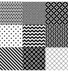 Seamless geometric pattern set vector image