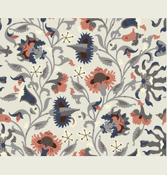 seamless pattern with ethnic decorative flowers vector image