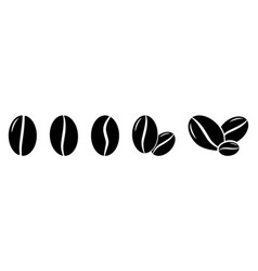 Set coffee beans icons isolated vector