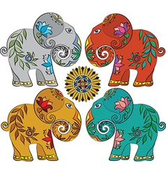 Set of 4 Indian elephants vector