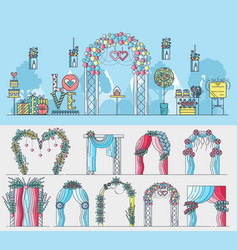 set of chancels for wedding ceremony with vector image