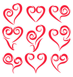 set red hearts with volume effect vector image