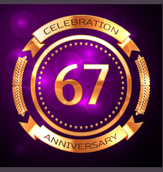 sixty seven years anniversary celebration with vector image