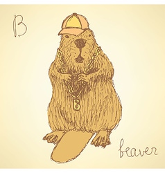 Sketch beaver hipster in vintage style vector image