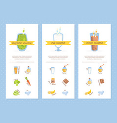 smoothie recipes set vegetable milk protein vector image