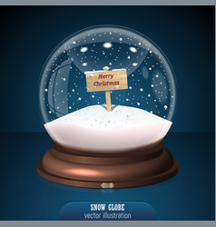 Snow globe on blue background merry christmas and vector