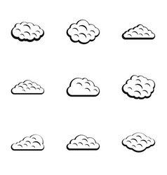 storm cloud icon set simple style vector image