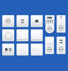 switches and sockets set all types ac power vector image