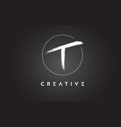T brush letter logo design artistic handwritten vector