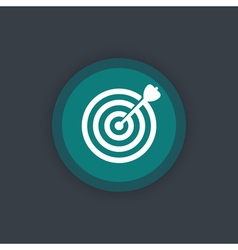 Target with arrow goal achievement round flat icon vector