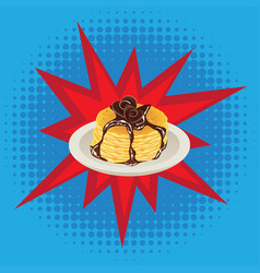 Tasty fluffy pancakes vector
