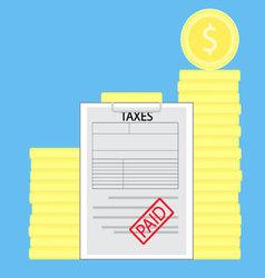 Taxes paid money saved vector
