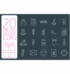 thin line happy birthday icons set concept vector image