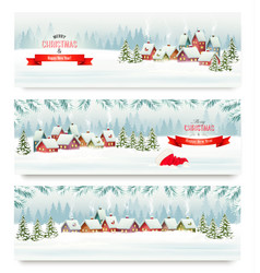 Three holiday christmas banners with a winter vector