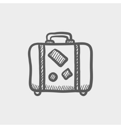 Travel luggage sketch icon vector image