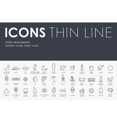 United Arab Emirates Thin Line Icons vector