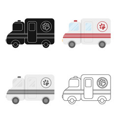 veterinary ambulance icon in cartoon style vector image