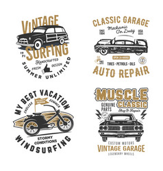 Vintage hand drawn tee prints set surf print vector