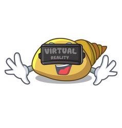 Virtual reality mollusk shell mascot cartoon vector