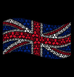 Waving uk flag collage of shrink arrows items vector