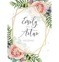 Wedding invitation floral invite save date vector