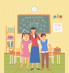 welcome to school teacher and pupils in classroom vector image