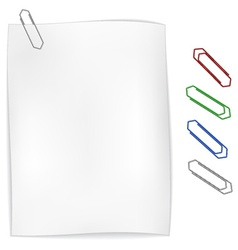 White wavy paper with paperclip vector