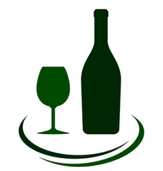 Wine bottle with glass and decorative lines vector