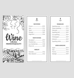 wine menu wine card template grape sketch vector image