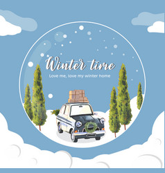 Winter home wreath design with car tree vector