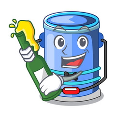 With beer bucket cylinder water in shape character vector