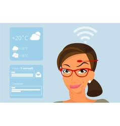 Woman using head-mounted hardware technologies vector