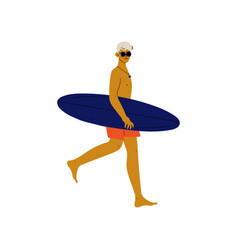 young man walking on beach with surfboard guy vector image