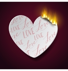 burning paperc heart vector image