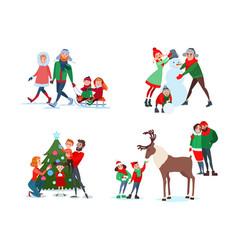 Christmas family scenes decorating christmas tree vector