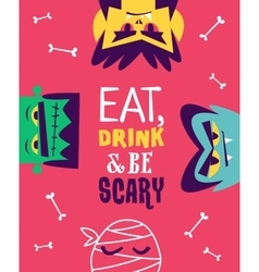 Funny invitation flyer for halloween party vector image