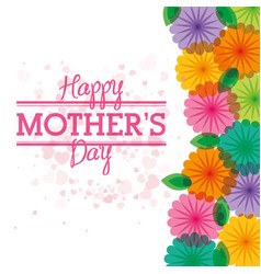 happy mothers day card with flowers heart vector image vector image