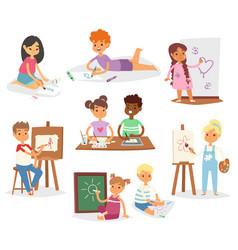 school kids children making art creative young vector image vector image